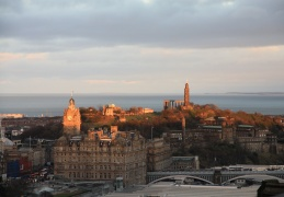 Sun setting over Calton Hill