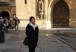 Elsa outside Bath Abbey