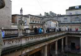 Statues at the top of the Roman Baths